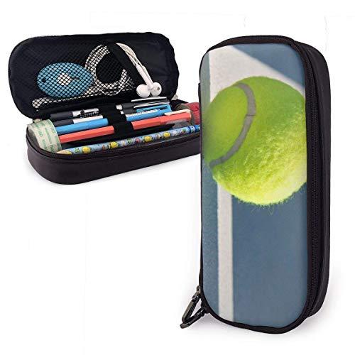 Pelota de tenis en línea Funda de lápiz de cuero Cremallera Bolígrafo Bolso Caja Titular Estudiantes Soporte de maquillaje multifunción