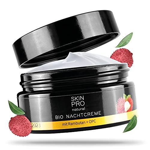 100ml Bio Nachtcreme mit Aloe Vera SKIN PRO natural® ,perfekte Anti Aging Feuchtigkeits-Creme zur täglichen Gesichtspflege, Gesichtscreme Vegan - Made in Germany
