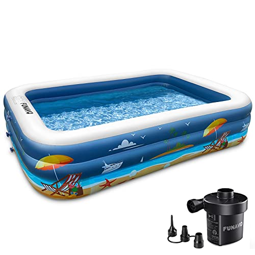 Inflatable Swimming Pool, FUNAVO 100' X 71' X 22' Full-Sized Family Inflatable Pool for Kids Adults Baby Toddlers, Blow Up Kiddie Pool With Pump for Backyard, Outdoor Swim Center