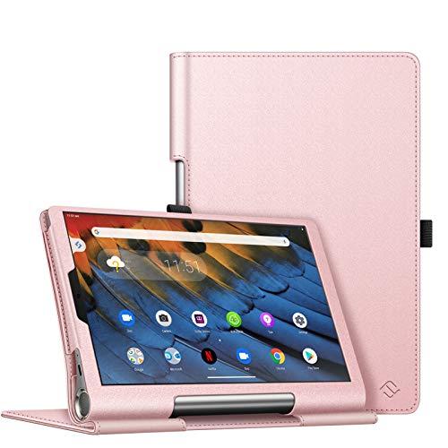 FINTIE Folio Funda Compatible con Lenovo Yoga Smart Tab - Tablet de 10.1' (YT-X705F) Slim Fit Carcasa Protectora de Cuero Sintético con Banda Elástica para Stylus, Oro Rosa