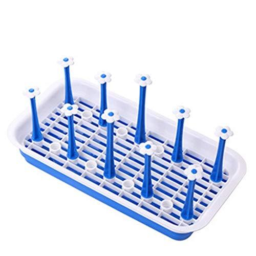 Escurridor Rectángulo bebidas Cristal soporte for botellas Copa de cocina Estante de almacenamiento bote de salida ESCURREPLATOS Percha platos (Color : Blue)
