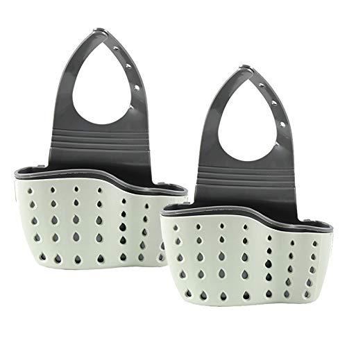 Gudotra 2pcs Organizador de Fregadero Cocina Estante de Almacenamiento para Organizador de Escurreplatos Cocina Baño Porta Esponja Cesta Escurre para Verde Blanco
