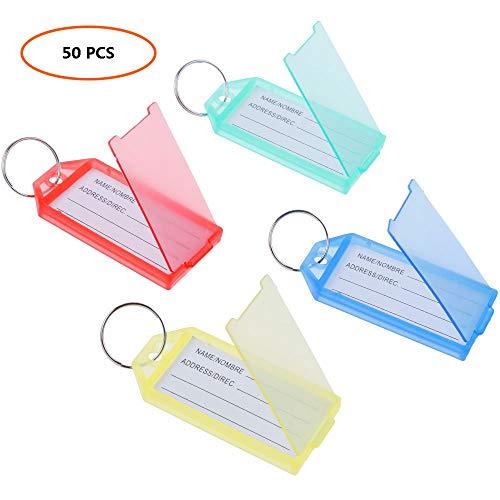 Junenoma Pack van 50/100 plastic sleutelhangers, meerkleurige sleutelhangers bagagelabels met sleutelhangers Fobs Bagage ID labels