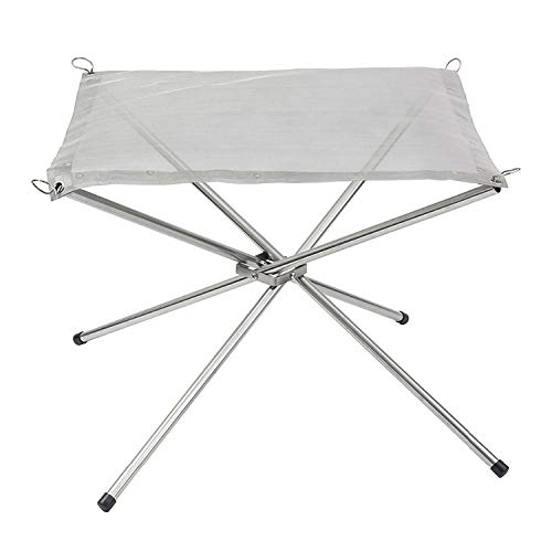 COMOOC Portable Fire Pit for Camping, Patio Burning Pit Small Bonfire Party 16.5 Inch Camping Fire Pit Foldable Easy to Fold with Carry Bag 1.6 lbs of Weight-Silver