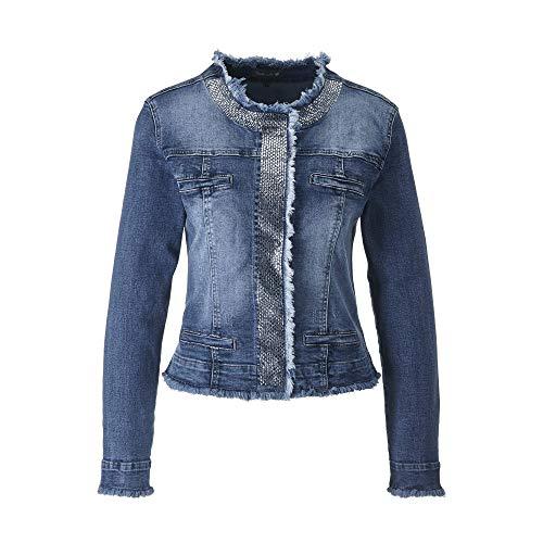 FASHION DEPARTMENT Eleganter Jeans Jacke Strass mit Used-Look mit angesagten Fransenabschlüssen (S)