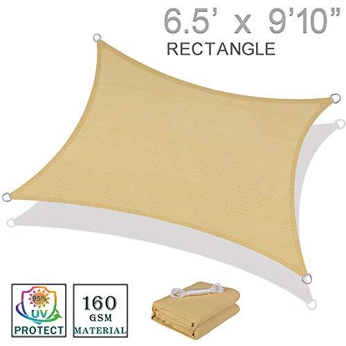 SUNNY GUARD 6.5' x 9'10' Sand Rectangle Sun Shade Sail UV Block for Outdoor Patio Garden