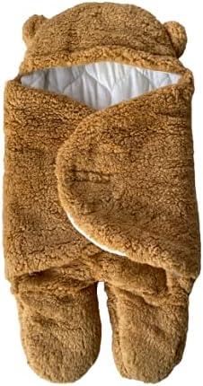 Baby Swaddle Soft Sleeping Bag Sack Wrap Blanket Cosy Premium Cotton 100% Organic Newborn Receiving Adjustable Girls Boys Unisex 3-6 Months [Brown]