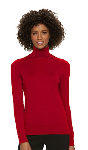 Chaps Women's Solid Turtleneck Sweater (Large, Rich Red)