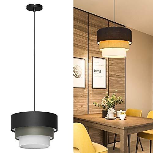 Depuley - Lámpara de techo LED con pantalla de tela y metal,...