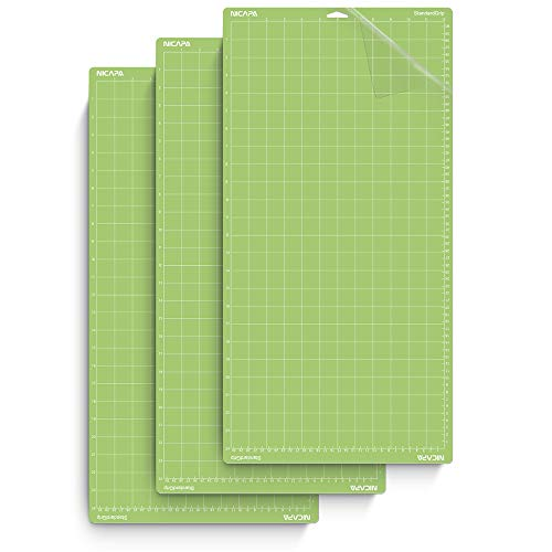 Nicapa Cutting Mat for Cricut Explore One/Air/Air 2/Maker (Standardgrip,12x24 inch,3pack) Adhesive&Sticky Non-Slip Flexible Square Gridded Cut Mats Replacement Accessories Set Matts Vinyl Craft