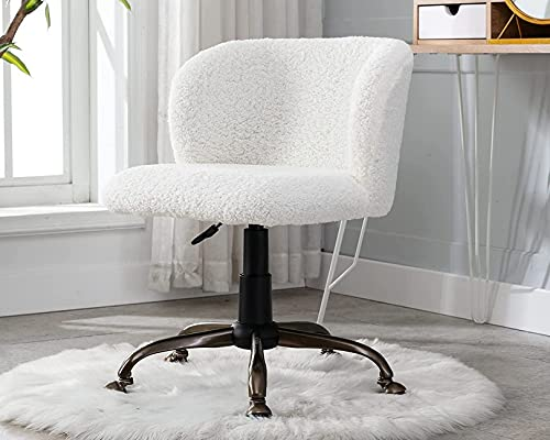 WWJ White Fuzzy Vanity Chair com as Costas fofas Cadeiras de Mesa de escritório em casa com rodas Confortável cadeira de trabalho sem braço para Adolescentes Sala de maquiagem para Meninas,