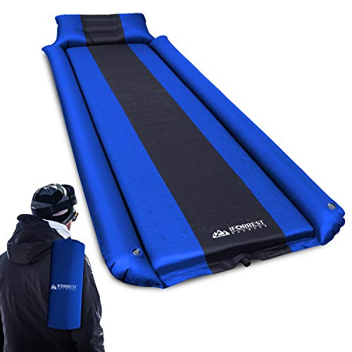 IFORREST Sleeping Pad with Armrest & Pillow - Rollover Protection - Ultra-Comfortable Self-Inflating Camping Mat Air Mattress - Ideal for Cot, Tent and Hammock (L/XL)