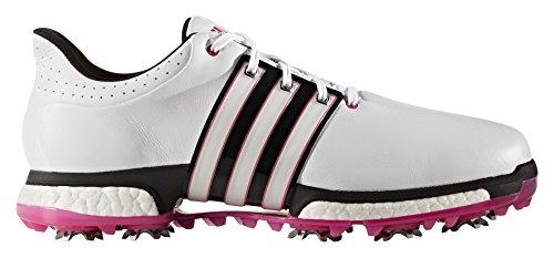 adidas Herren Tour 360 Boost Golfschuhe, Weiß (White/core Black/Shock Pink), 44 EU