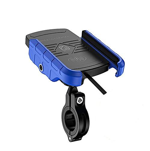 SHST Impermeable 12V Motocicleta Teléfono Qi Carga rápida Cargador Inalámbrico Soporte de Soporte Soporte de Soporte para iPhone XS MAX XR X 8 Samsung (Color : Azul)