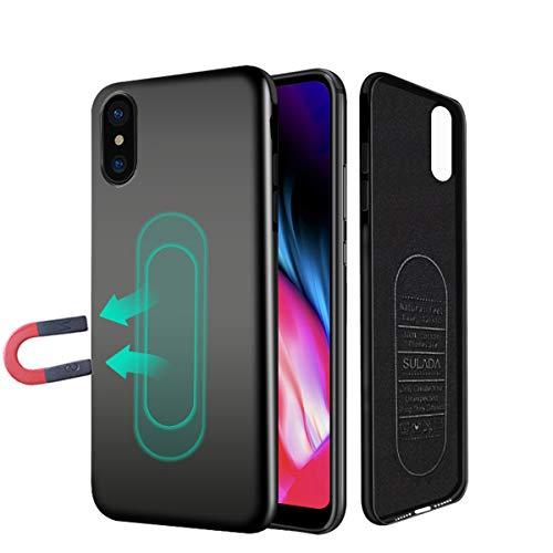 Schutzhülle für iPhone 6/6S/7/8Plus X, ultra dünne magnetische Handyhülle für Auto-Halterung mit unsichtbarer integrierter Metallplatte, weiches TPU, stoßfeste und kratzfeste Schutzhülle für iPhone
