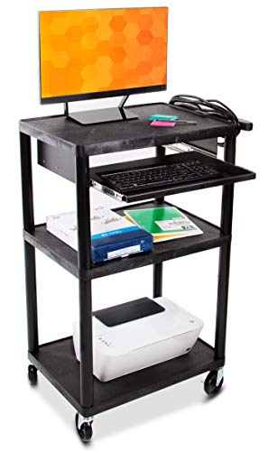 Line Leader Plastic AV Cart with Keyboard Tray – Mobile Workstation with 4 Rolling Casters and 2 Locking Brakes– Heavy Duty, Holds up to 400 lbs– Perfect for Offices and Schools (Black / 24 x 18 x 42)