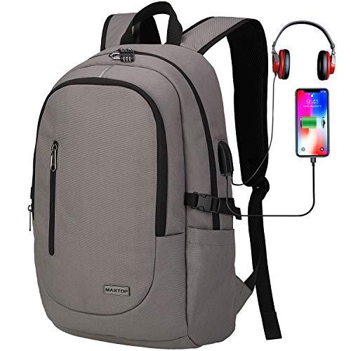 Laptop-Rucksack mit USB-Ladeanschluss Anti-Diebstahl [wasserfest] Uni-Rucksack Schule Geschäftsreisen-Rucksack Computer-Rucksack für Männer und Frauen - Passend für Notebooks bis 15,6 Zoll