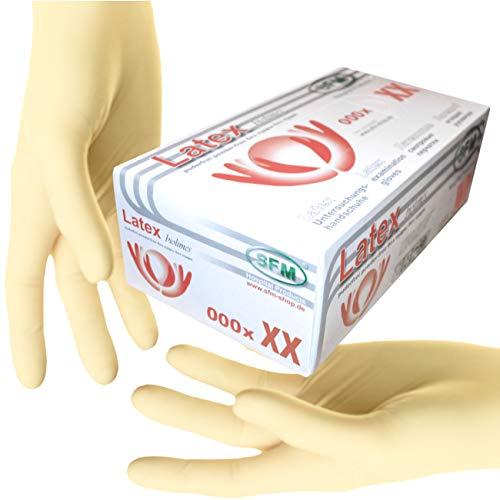 SFM ® BIOLIMES Latex : XS, S, M, L, XL weiß puderfrei volltexturiert Einweghandschuhe Einmalhandschuhe Untersuchungshandschuhe Latexhandschuhe S (100)