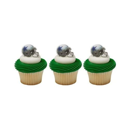 88dca51f822 24 Dallas Cowboys Football Helmet Cupcake Rings by DecoPac