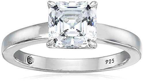 Platinum-Plated Silver Asscher-Cut (2 cttw) Solitaire Ring made with Swarovski Zirconia, Size 7
