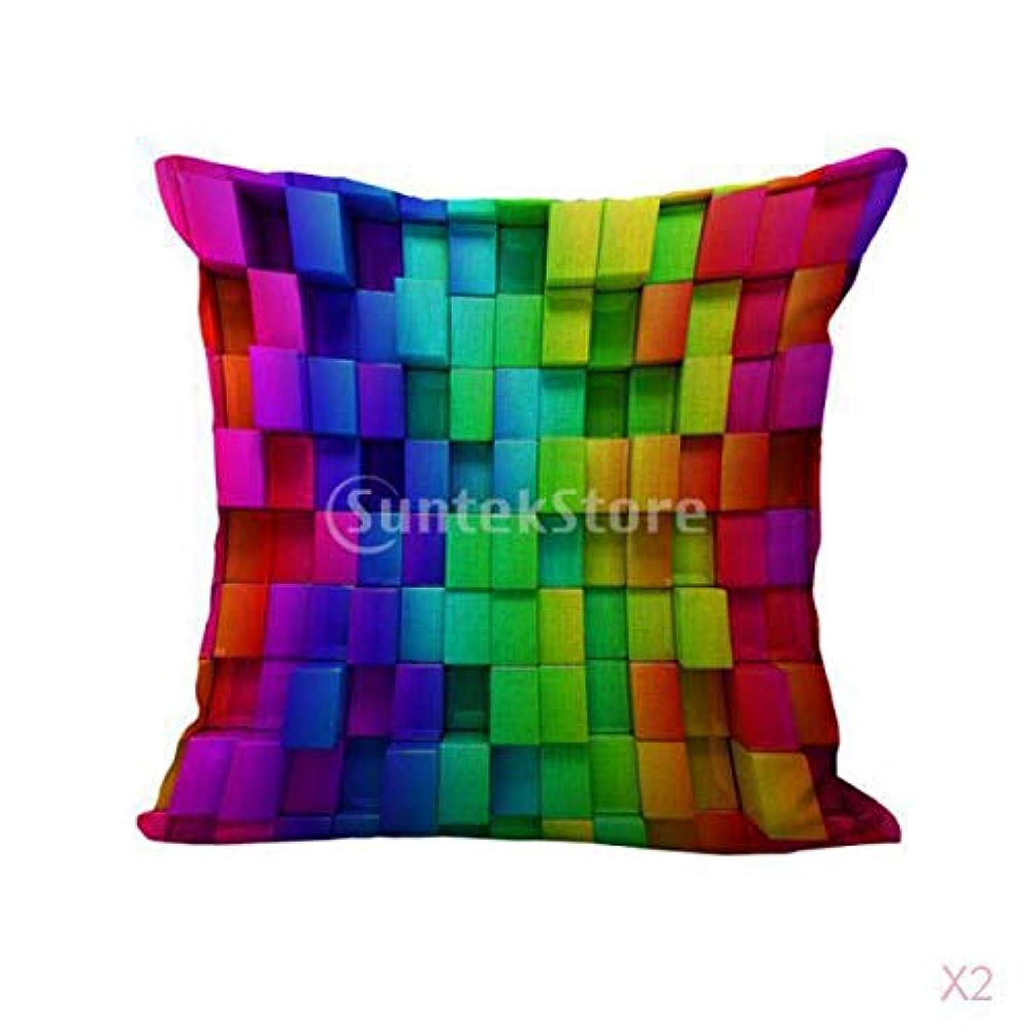 適切な邪魔地獄織グリッドプリントコットンリネンスローピローケース虹クッションカバー装飾
