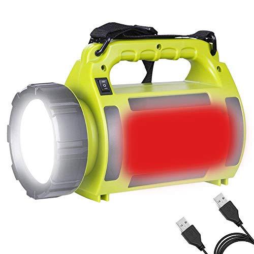 SDlamp Luz De Búsqueda LED Recargable Flute Flute DE LUZ, 30000 LUMENS Torch Camping LUZ, LUZ Reda Lado + Luz Blanca, 5 Modos De Iluminación, para Acampar 🔥