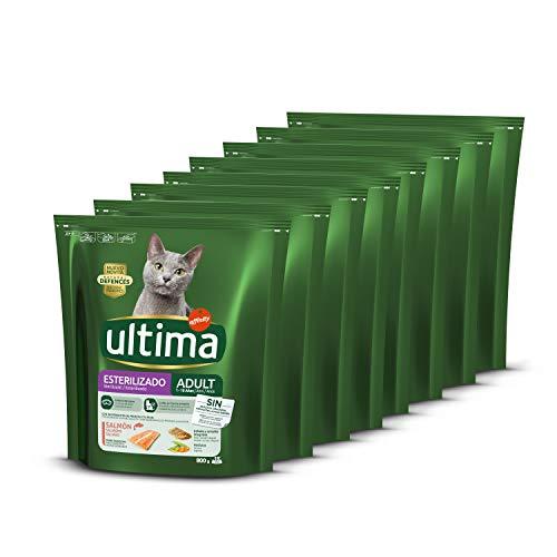 ultima Pienso para Gatos Esterilizados Adultos con Salmón, Pack de 8 x 800 gr - Total: 6.4k g