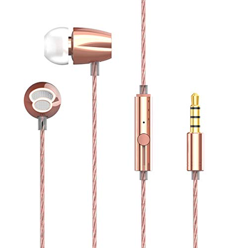 Rapoo in-Ear Earbud Headphones, Hi-Fi Stereo Sound Earphones for iPhone, iPod, iPad, Samsung and Mp3 Players with 3.5mm Jack Plug-Rose Gold