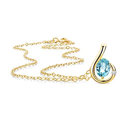 Orovi Joya para mujer de 0,02 quilates, oro amarillo con colgante ovalado, piedra natal de noviembre, topacio azul y diamante solitario brillante, cadena de oro de 9 quilates (375)
