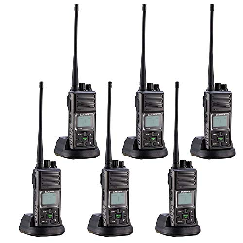 Sanzuco Long Range Rechargeable Two-Way Radio with Headset, Handheld Reprogrammable Walkie Talkie with Announcement Function, 3000mAh Li-Battery, Dock Charger Included (Black, 6 Pack)