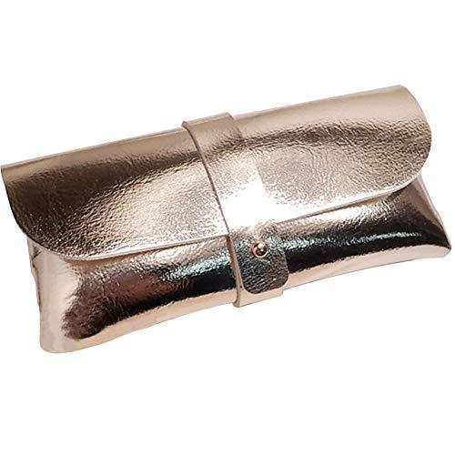Umoraサングラスケース メガネケース シンプル ソフトレザー 高級感(ゴールド)