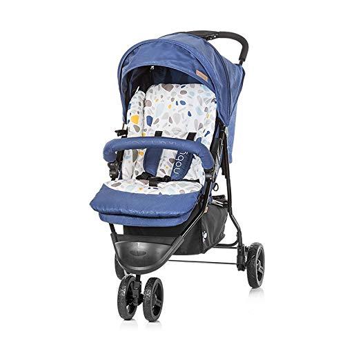 Chipolino Kinderwagen Noby, Rückenlehne Dach Fußstützen verstellbar 5-Punkt Gurt blau