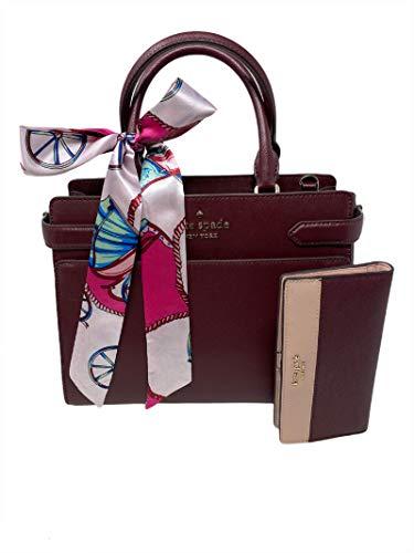 Kate Spade New York Staci Medium Satchel 3 pc bundled with matching Slim Block Bifold Wallet and Skinny Silk Scarf Pink Cherrywood