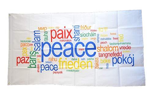 Flaggenfritze® Flagge/Fahne Peace Frieden Paix Pace Shalom - 90 x 150 cm