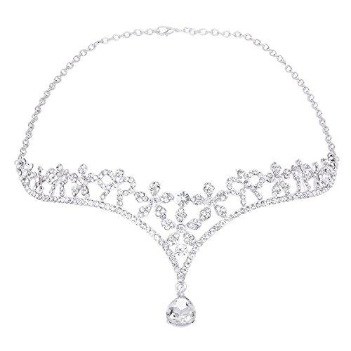 ROSENICE Tiara Brautschmuck Kristall Blume Haarband Stirnband Strass Haar Kette (Silber)