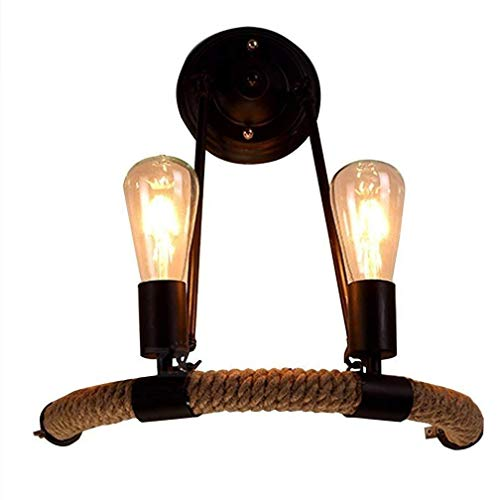 Hancoc Loft Cuerda Vintage Lámpara De Pared De La Lámpara Colgante Antiguo Retro 2 Llamas Disign Lámpara De Pared Industrial Metal De La Lámpara Del Accesorio Decorativo Edison E27 Interior Directa De