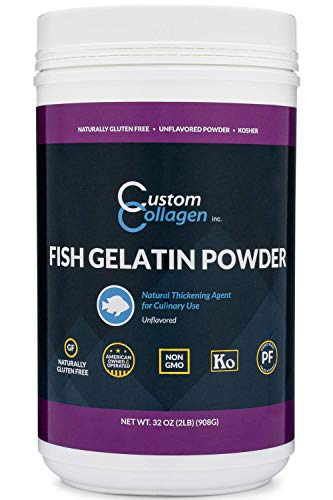 Fish Gelatin Powder - 2 lb (32oz) - Unflavored, Kosher, Pure, Marine Sourced - For Culinary Use, Gummy Candy, Jello Shots and More