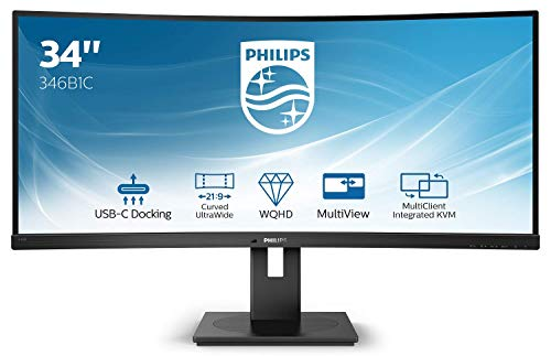 Philips 346B1C 86 cm (34 Zoll) Curved Monitor (HDMI, Displayport, USB-C, USB Hub, 3440 x 1440, 100 Hz, FreeSync, 5 ms Reaktionszeit) schwarz