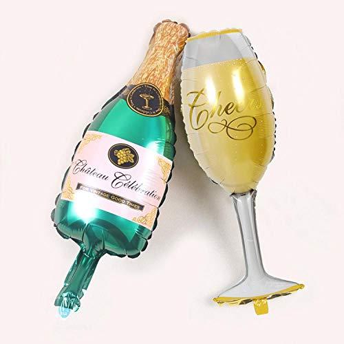 Decoración De Celebración De Fiesta De Cumpleaños, Botella De Vino Y Globo De Papel De Aluminio De Copa De Vino, Globo Grande De Papel De Aluminio De Champán