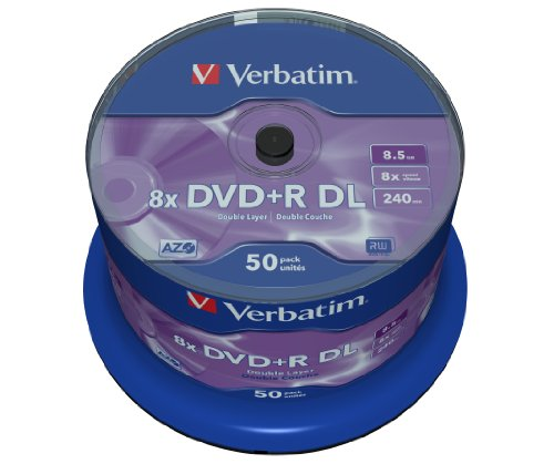 Verbatim DVD+R Double Layer - 8.5 GB, 8-fache Brenngeschwindigkeit mit langer Lebensdauer, 50 Stück Spindel, mattsilber