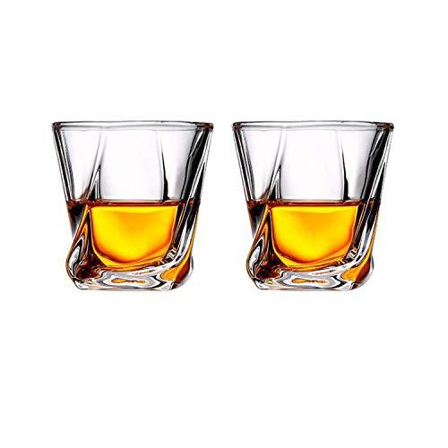 Tianhh Crystal Glass Whiskey Glas, Europees Spirit Glas, Dik Bierglas, Hittebestendige Bar, Wijnglas (210 ml)-2 packs