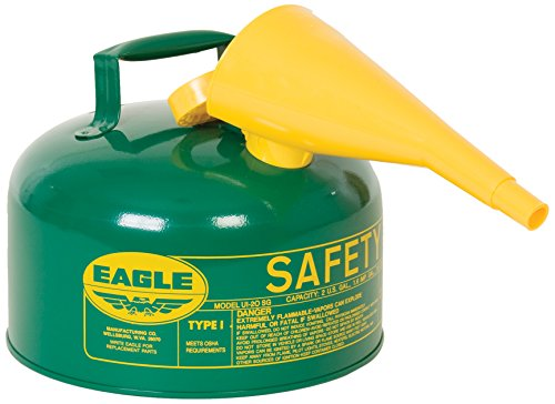 Eagle UI-25-FSG Green with Funnel Metal Safety Gas Can, 2.5 gal Capacity