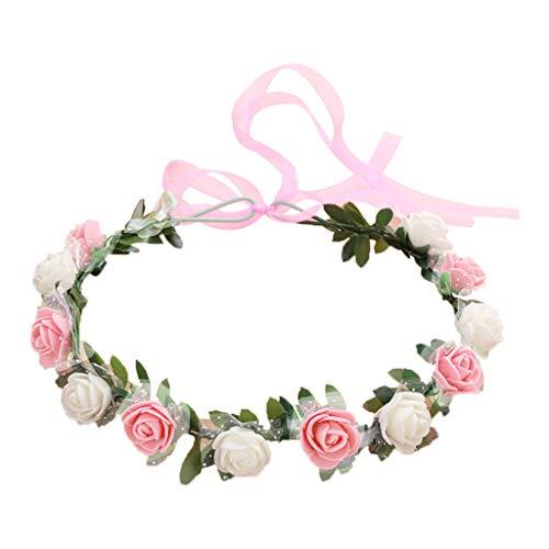 MYhose Diadema Nupcial de 18 Colores para Mujer, Fiesta en la Playa 12 Espuma de PE Flor de Rosa Corona Multicolor Corona Cinta de Boda Guirnalda Tocado 13# Blanco + Rosa Brillante