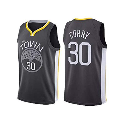 30# Curry Warriors Basketball-Trikot, ärmellos, S-XXL Gr. L, Schwarz