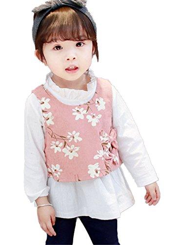 FAIRYRAIN 3 szt. dzieci niemowlę dziewczynki bawełna vintage kwiat kamizelka biała bluzka topy + kokardka kreskówka spodnie zestaw strojów
