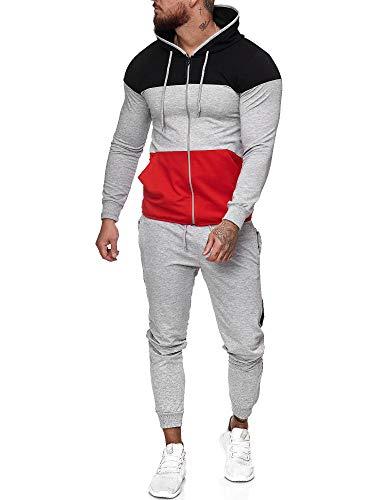 Code47 | Herren Trainingsanzug | Jogginganzug | Sportanzug | Jogging Anzug | Hoodie-Sporthose | Jogging-Anzug | Trainings-Anzug | Jogging-Hose | Modell JG-1083 Schwarz-Grau-Rot M