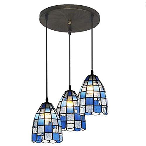 Lampada a sospensione in vetro colorato a 3 teste con lampadario in stile tiffany Lampada a sospensione a soffitto in cristallo blu antico E27 con sospensione a soffitto,Blue