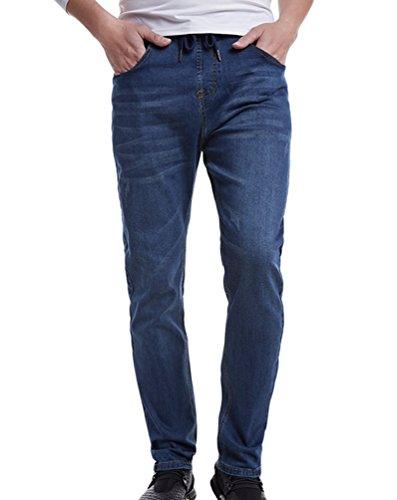 Heheja Homme Grande Taille Élastique Jeans Loisir Mince Denim Pantalon Bleu Foncé 4XL