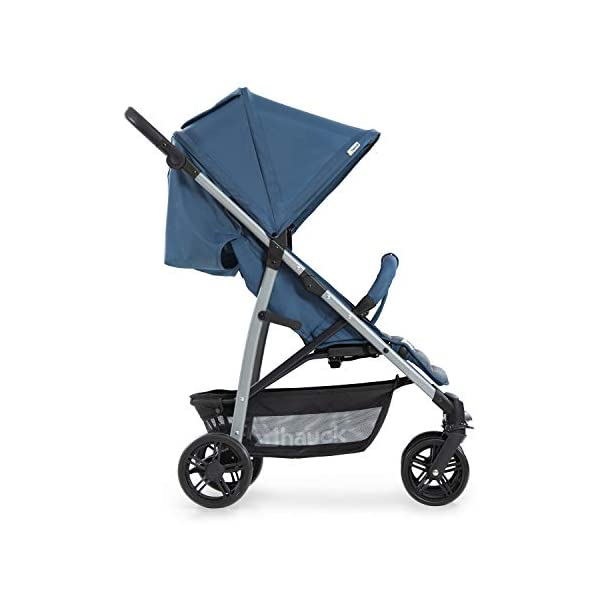 Hauck Rapid 4, 0 Months to 22 kg, Foldable, Compact, with one Hand, with Sleep Position, Height Adjustable Handle, Large Basket - denim/grey, Rapid 4, Up to 25 Kg Hauck Easy folding this pushchair is as easy to fold away as possible - the comfort stroller can be folded with one hand only within seconds, leaving one hand always free for your little ray of sunshine Long use this buggy can be used for a very long time. it is suitable from birth (also compatible with 2in1 carrycot or comfort fix infant car seat) up to a maximum of 22kg Comfortable back friendly push handle adjustable in height, the hood extendable; suspension, swivelling front wheels, soft padding, and large shopping basket 8