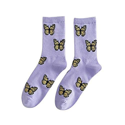 Holo Cute Schmetterlingssocken Damenmode Streetwear Middle Tube Baumwolle Harajuku Socken